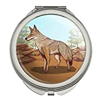野生のコヨーテコンパクトな旅行財布のハンドバッグの化粧鏡