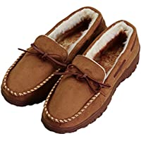 Men's Thick Plush Lining Microsuede Indoor Outdoor Slip On Moccasin Slippers (FBA)