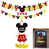 Mickey Mouse Party Supplies Kits, Minnie Happy Birthday Banner, Garland and Welcome Hanger for Baby Kids Shower Theme Parties Decoration