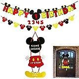 ミッキーマウスパーティー用品キット ハッピーバースデーバナー ガーランド ウェルカムハンガー ベビーキッズシャワーテーマパーティーデコレーション