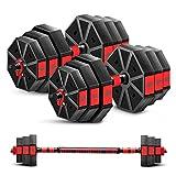 ダンベル バーベル 腕立て伏せ 最新進化特許版・3in1】多段階重さ調節可能バーベル ダンベルセット 10kg 15kg 20kg 30kg 40kg 筋力トレーニング ダイエッ ト シェイプアップ 静音 環境にやさしい材料 八角形特許設計滑り止め (Red(10kg×2セット)ダンベル 20kg)