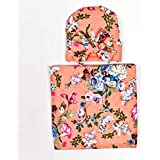 Newborn Girl Stunning Receiving Swaddle Blanket and Cap with Bow 2 PCE Set Flower Print (Apricot)