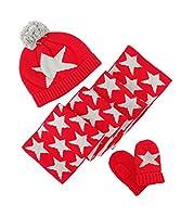 Shellme 新型 赤ちゃんキャップ帽子 ニット帽 3点セット クリスマス帽子 柔らか 綿 星 可愛い 紺 毛玉 ボンボン ?耳帽 秋冬 ボンネット 防寒 ベビー & キッズ 子供