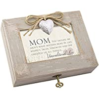 Mom Taught Love Distressed Wood Locket Jewellery Music Box Plays Tune Wind Beneath My Wings