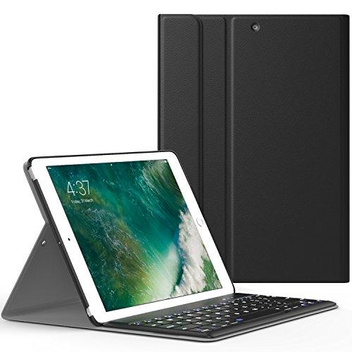 iPad 9.7 2017 ケース - ATiC Apple New iPad 9.7 2017用 Bluetoothキーボード型フォリオケース BLACK (iPad Pro 9.7に適応ない)