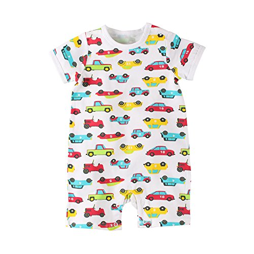52bf0ee755545 Baby Nest 夏 ベビー服 半袖ロンパース 女の子 男の子 肩ボタン フルプリント コットン カー 3-
