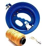 【 3点セット 】 糸巻き 凧 たこ カイト 【STTS】 リール 回転式 直径 18cm &たこ糸 200m &スイベル 63mm 3点 セット (青 リール直径18cm)