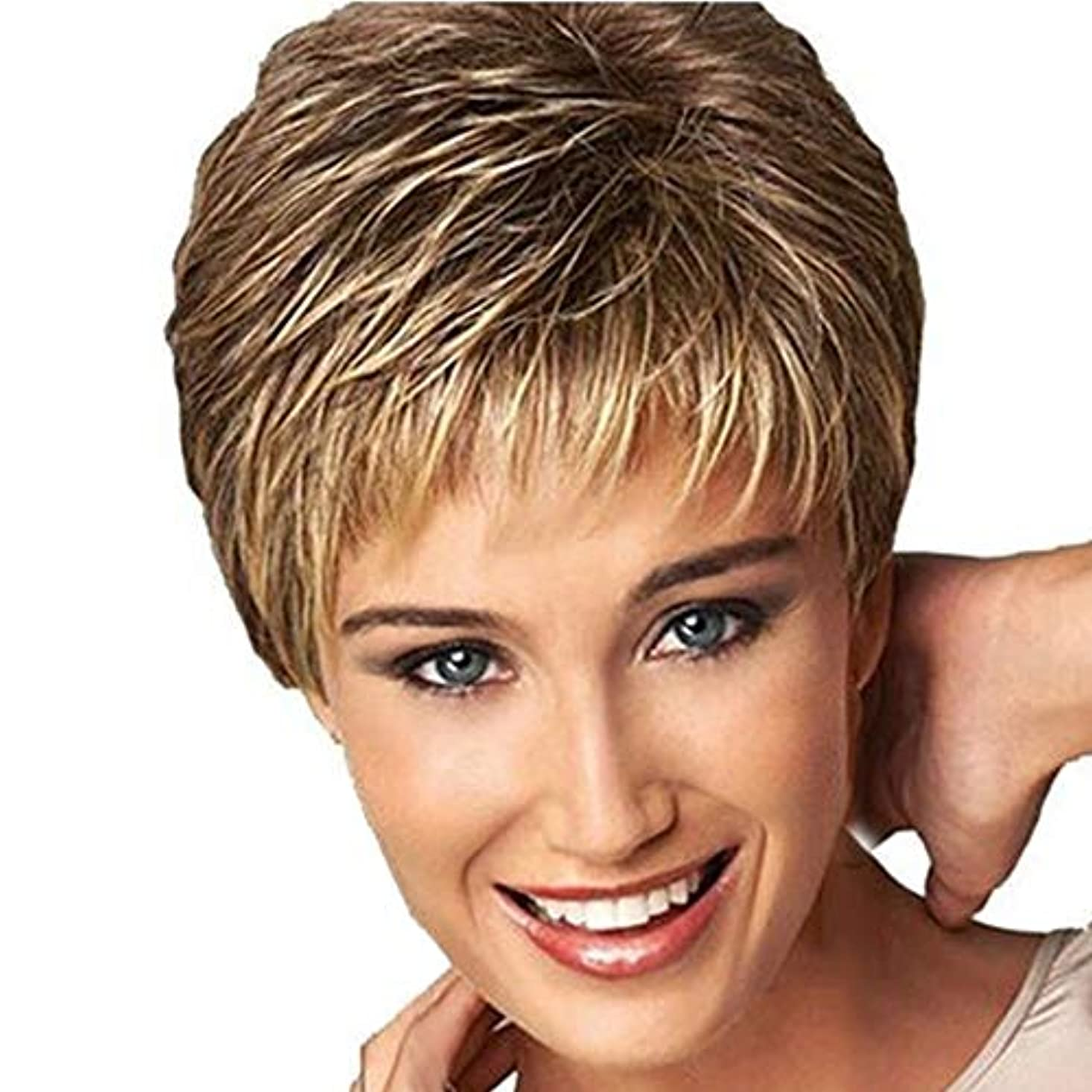 枝充実期間美しさ 3ピースヘアケアかつらスタンド耐熱繊維かつら短い散髪カーリーカラーグラデーションかつらファッション ヘア&シェービング