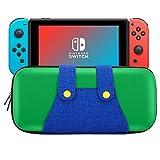 Nintendo Switch ケース - ATiC 任天堂 ニンテンドー スイッチ 収納バッグ EVA素材 耐衝撃 ゲームカード ケーブル イヤホンなど小物収納可能 マリオ 収納カバー Green+Blue