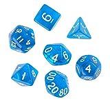 【ノーブランド 品】サイコロ ダイスセット ゲーム  パーティー  ギフト 7個 全5色 - ブルー