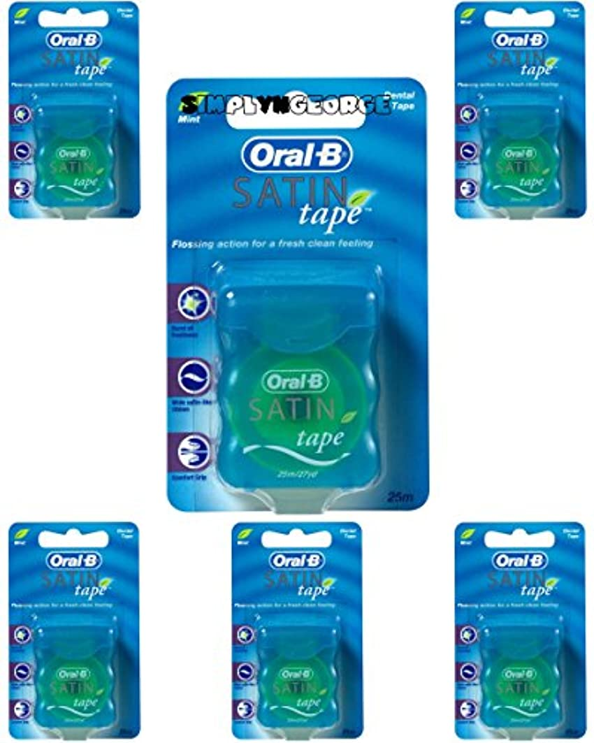 人質私の出撃者Oral-B Statin Tape Dental Floss 25m (6 Units) by Oral-B Satin Tape Mint