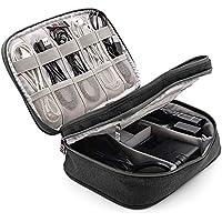 HUASUN トラベルポーチ PC周辺 デジタル 整理 バッグ モバイル収納ケース 二層式 収納ポーチ 携帯 防水 出張 旅行対応(ブラック)