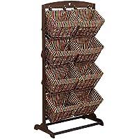 多層籐製の収納バスケットプラスチック製の積み重ね可能な木製の織りデザインスペースの節約 (サイズ さいず : 63.5 x 35 x 128cm)