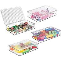 mDesignスリムスタッカブルToy Storage Bin with Hinged Lid – PlayroomプラスチックOrganizer for Kid/Child車、バービー人形、赤ちゃん人形Clothes、パズル、ArmyメンズBuilding Blocks – BPAフリー、4パック、クリア