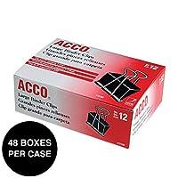 Accoバインダークリップ、Large、1ケース、48ボックス/ケース、12クリップボックス( 72100)