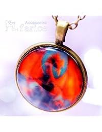レッド?ドラゴン(赤龍)デザイン アンティークゴールドカラー ガラス?ラウンドプレート メンズ ペンダント ネックレス【あずきチェーン付き】