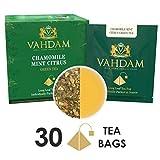 カモミール・ミントシトラス緑茶の葉 - ティーバッグ 15袋(2パック), ロングリーフ緑茶ティーバッグ -, 100%天然デトックスティ, 減量ティ, スリミングティ - カモミール、オレンジピール、ペパーミント、スペアミント