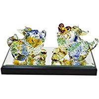 かわいい手作り ガラス細工 縁起貔貅(ひきゅう) 色彩小ペア CKF042