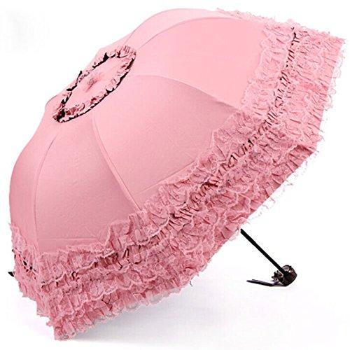 Petforu 折り畳み晴雨兼用女性用傘 ドームプリンセスレース日傘 紫外線対策パラソル(ブラック) (ピンク)