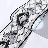 壁紙ボーダー自己接着壁タトゥーボーダー黒、3D PVC接着剤バスルームボーダーショップウィンドウディスプレイリムーバブルボーダーディスプレイ用バスルームミラーキッチン500x10.5cm,グレー