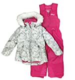 WEATHERPROOF (ウェザープルーフ) ガールズ キッズ スキーウェア (ピンク) ジャケット パンツ 上下セット Jacket With Coordinating Bib Pant (WHITE KNIT FLORAL)