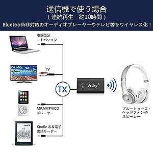 Wsky Bluetooth トランスミッター レシーバー 2イン1 ワイヤレス オーディオ 送信機 受信機 3.5mmオーディオデバイス対応 (ブラック)