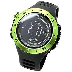 [ラドウェザー] アウトドア腕時計 メンズ スイス製センサー搭載 高度計/気圧計/方位計/コンパス/温度計/気温計 100m防水 スポーツ時計 lad024