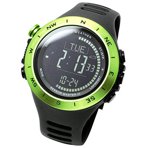 [LAD WEATHER]アウトドア腕時計 高度計 気圧計 気温計 歩数計 コンパス 100m防水 スポーツ時計 lad024