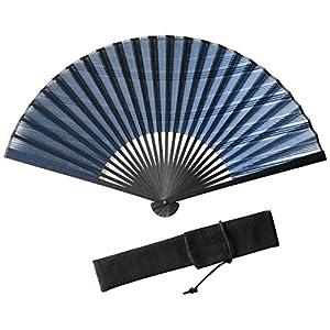 (ハクチクドウ) Hakuchikudo(ハクチクドウ) 横縞グラデ扇子セット (全2種類) 11-jpn-yokoshimagrade nv ネイビー -