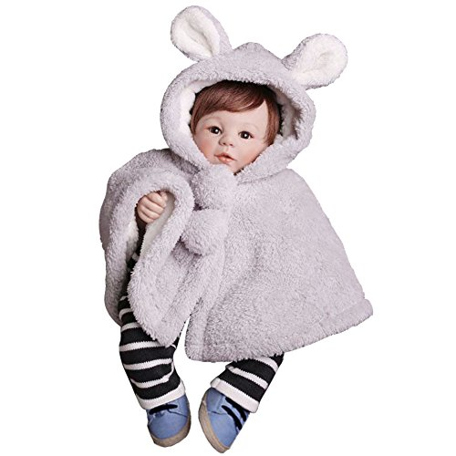 giminuoベビーマント ポンチョ 子供 可愛い 防寒 フード付き 着ぐるみ カワイイ 耳付き 出産祝い お誕生日 プレゼント (グレー, 100CM)