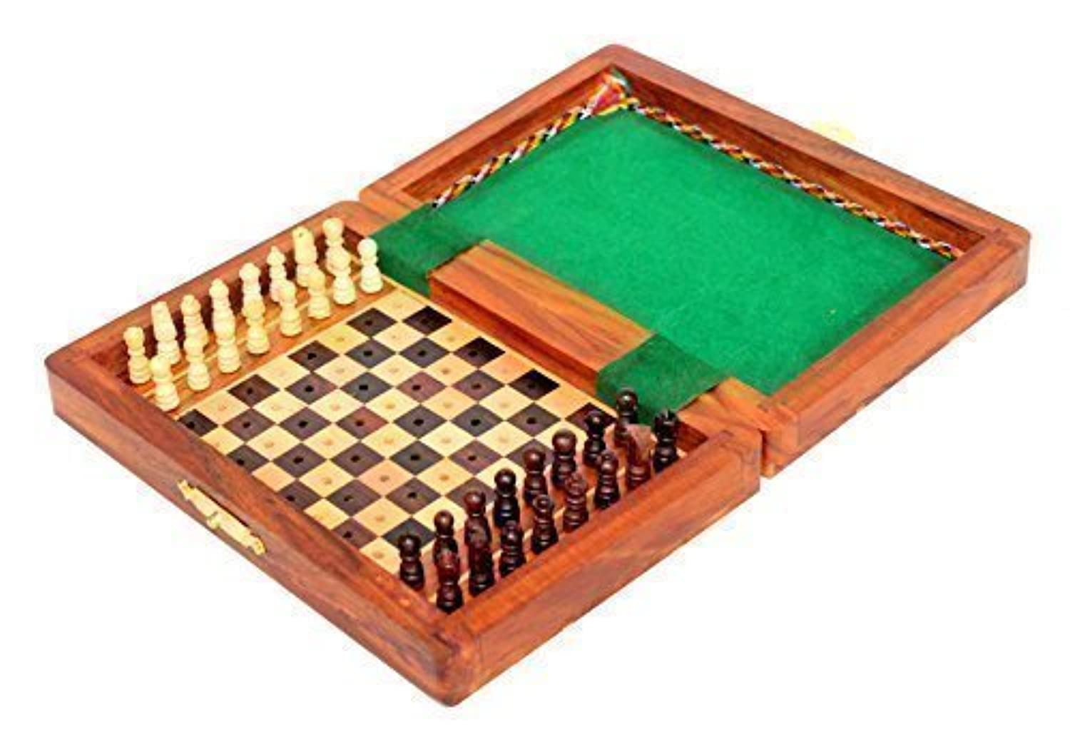 Stonkraft Collectible Folding Wooden Pegged Portable Travel Chess Game Board Set - Best Gifting options for Father's Day, Valentine Day, Birthdays - Clearing sale. Price dropped by 35% now. by StonKraft [並行輸入品]