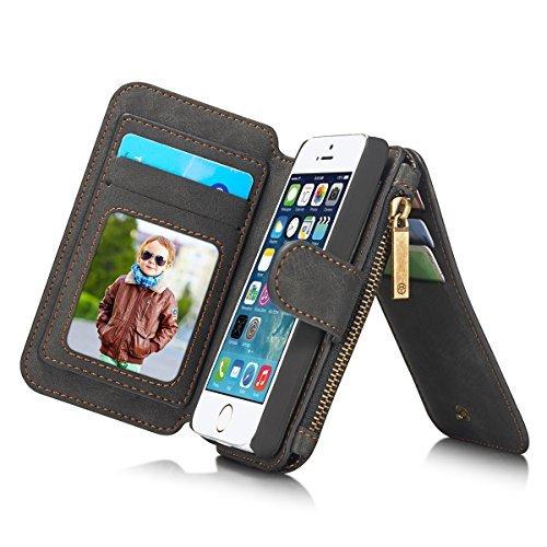 ANNNWZZD iPhone5/iPhone5S/SE ケース 4インチ用 多機能 ビンテージレザー 財布型ポーチ カードスロット14枚付き ジッパーバッグ(小銭やイヤホン、コインなど収納可能) スタンド多機能 写真入れ取り外し可能 アイフォンSE手帳型 マグネット脱着式バックカバーが金属吸着可 ターチペン付き(ブラック)