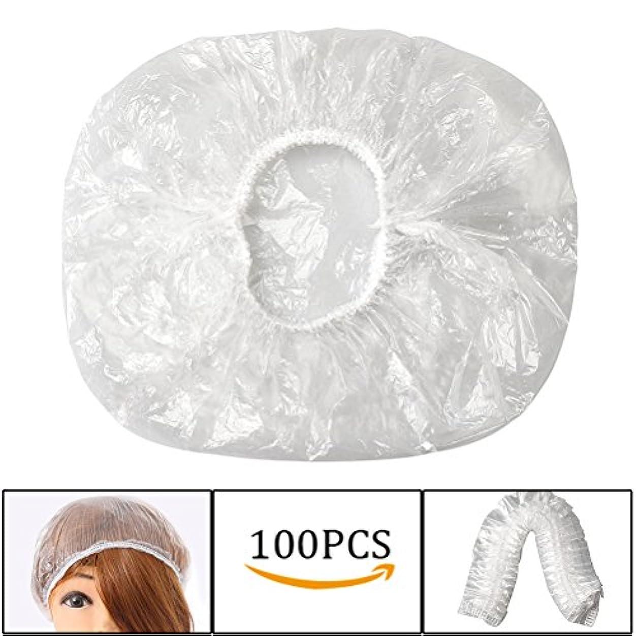 活気づく置き場ズームインするshiyi 100個 使い捨てのシャワーキャップ, 髪染め用 防水透明 プラスチック製のヘアキャップ