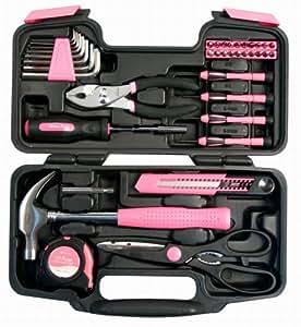 かわいいピンクの工具 女性必見!39種類の工具ツールセット[並行輸入品]