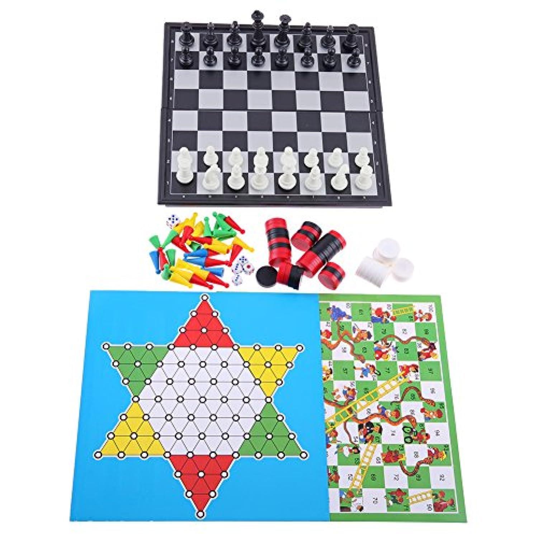 チェスセット ダイヤモンドゲーム 国際チェス 折りたたみ 磁石つき 6in1 Broadroot (6in1)