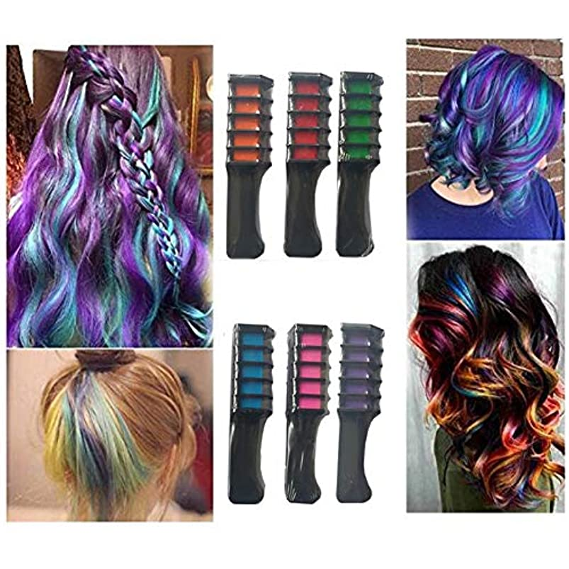 ハミングバード長椅子並外れたパーティーファンのための一時的な髪の色の櫛洗える髪染料の櫛使い捨てヘアチョークコスプレDIY、6個