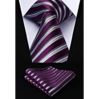 HISDERN Formal Silk Ties for Men Classic Plaid Check Tie + Handkerchief Set Elagant Men's Striped Necktie & Pocket Square Set