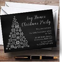 シルバースノーフレーククリスマスツリーPersonalizedクリスマス新しい年/休日/パーティー。。。 30 Invitations