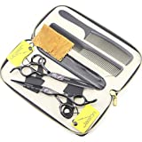 JASON Professional Black Hair Cutting Scissors Shears Barber Thinning Set Kit with Leather Case Salon Hairdresser Hair Cutting Tool 6.0 inch