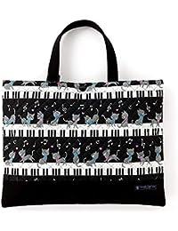 レッスンバッグ(キルティング) 絵本袋 手さげ おけいこバッグ ピアノの上で踊る黒猫ワルツ(ブラック) N0222700