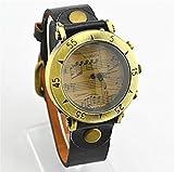 アンティーク風 音符 & 五線譜 腕時計 (ブラック)