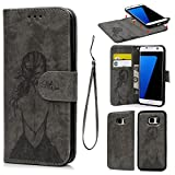 SUPWALL S7 Edge Case S7 Edge Wallet Case PU Leather Embossed Girl Detachable Magnetic Wallet Flip Protective Skin with Card Slots Case Made for Samsung Galaxy S7 Edge Gray [並行輸入品]