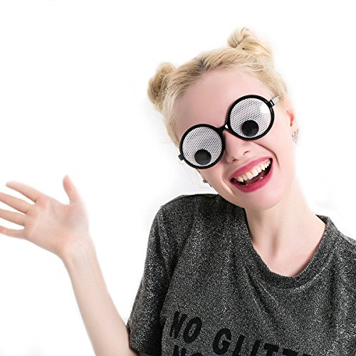 クインウィンド 面白い Googly 目メガネとパーティーコスプレ衣装クリスマスハロウィンパーティー装飾のためのおもちゃを振る目ゴーグル -