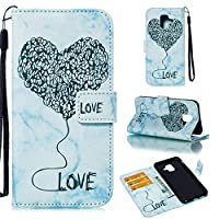 Samsung Galaxy A6 (2018) Case, Premium PU Leather Wallet Pouch Flip Cover Case Anti-Scratch Defender Coverバックシェル For Samsung Galaxy A6 (2018) (Blue)