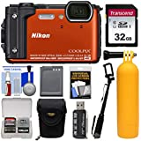 Nikon Coolpix w3004K Wi - Fi衝撃&防水デジタルカメラ(オレンジ) with 32GBカード+ケース+バッテリー+浮動一脚+ハンドル+キット