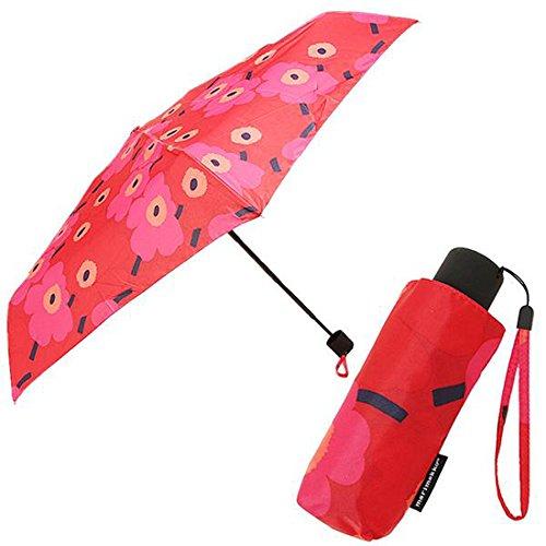 マリメッコ 傘 レディース MARIMEKKO 038653 301 MINI-UNIKKO MINI MANUAL UMBRELLA 折りたたみ傘 RED/DARK RED [並行輸入品]