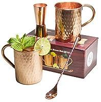 [ギフトセット]モスコミュール銅マグ100% Pure Copper ( noニッケル内部) Moscow MuleギフトセットIncludes 2つ純粋な銅ハンマー16オンスマグカップ–両面銅ショットPourer–銅Stirスプーン