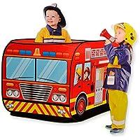 消防車テント ポップアップ キッズテント 折り畳み – Happytime ZM17014 ファイヤートラック ゲームハウス 折りたたみ 屋内遊具 車両 贈り物 3歳から おもちゃ 知育玩具