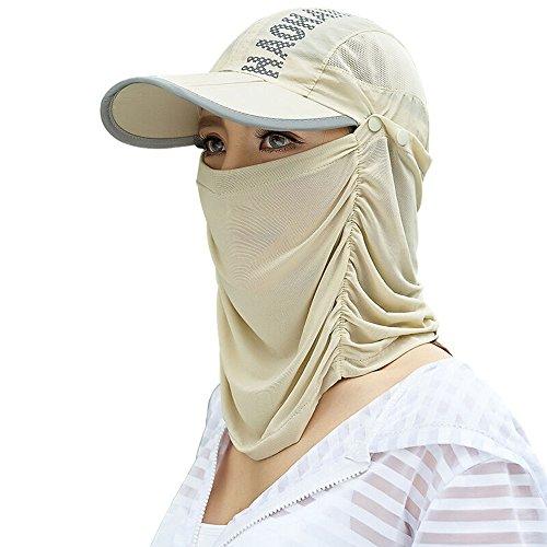 Bwiv 日よけ帽子 折り畳み フェイスカバー UVカット フェイスマスク 日焼け防止 紫外線対策 帽子 通気 薄地 取り外し 調節可能 アウトドア作業 ウォーキング 鳥の子色