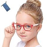 ブルーライト カット メガネ キッズ こども用 パソコン用 子供 専用 子ども 視力 ケース付き (四角, 白&赤)